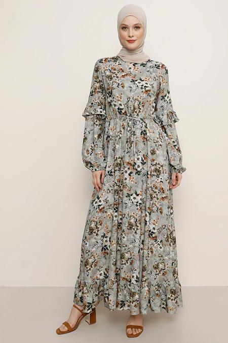Refka Açık Yeşil Doğal Kumaşlı Çiçek Desenli Elbise