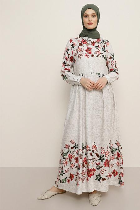 Refka Bej Doğal Kumaşlı Çiçek Desenli Elbise