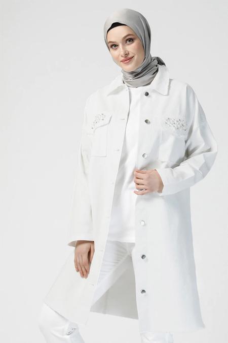Refka Beyaz Doğal Kumaşlı Kot Ceket