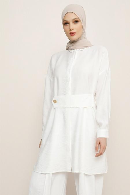 Refka Beyaz Gizli Düğmeli Tunik