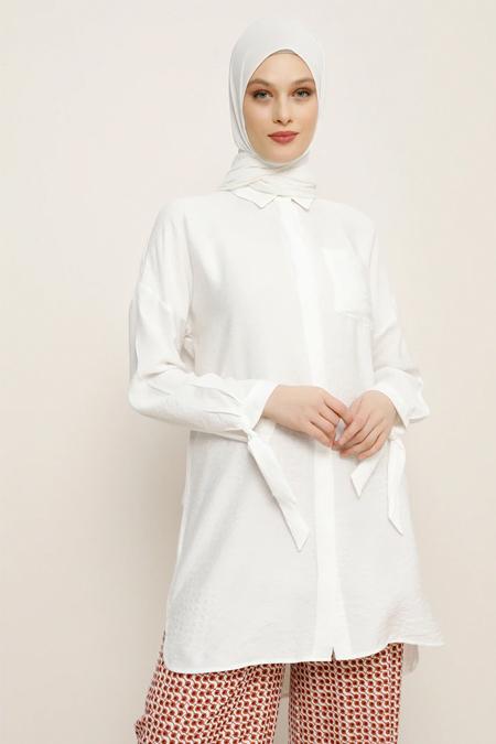 Refka Beyaz Kolları Kurdele Detaylı Tunik