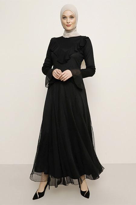 Refka Siyah Volan Detaylı Elbise