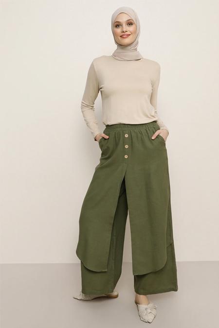 Refka Haki Doğal Kumaşlı Beli Lastikli Pantolon Etek
