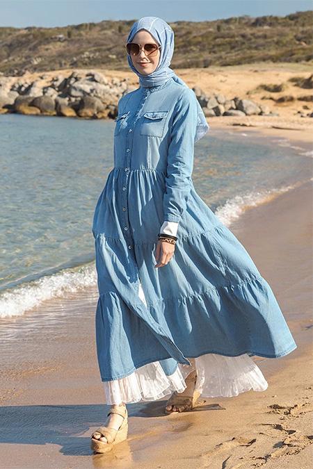 Refka Mavi Doğal Kumaşlı Boydan Düğmeli Kot Elbise