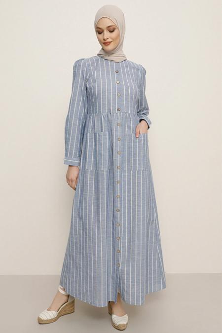 Refka Mavi Boydan Düğmeli Cepli Elbise