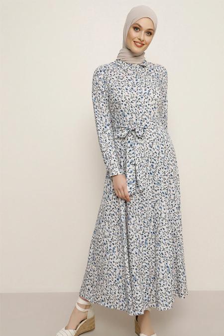 Refka Pudra Mavi Doğal Kumaşlı Çiçekli Elbise