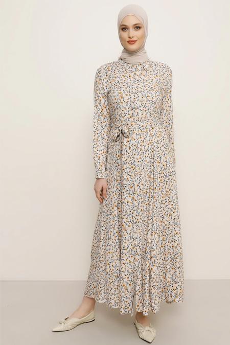 Refka Pudra Safran Doğal Kumaşlı Çiçekli Elbise