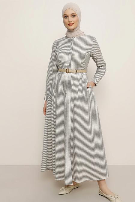 Refka Siyah Çizgili Elbise