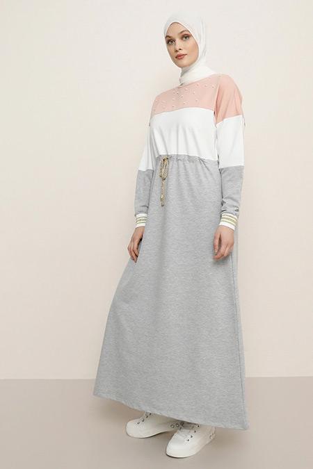 Refka Somon Beli Bağcıklı İnci Detaylı Elbise