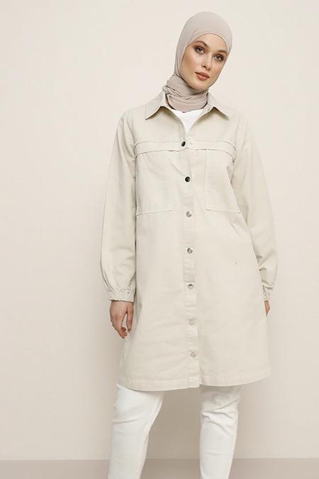 Refka Taş Doğal Kumaşlı İnci Detaylı Kot Ceket
