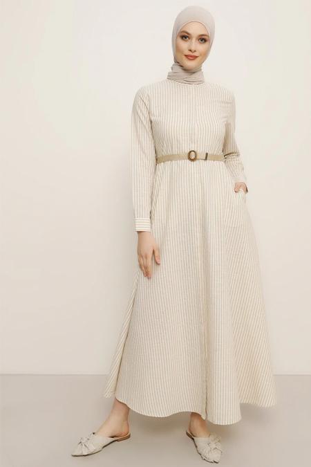 Refka Vizon Çizgili Elbise