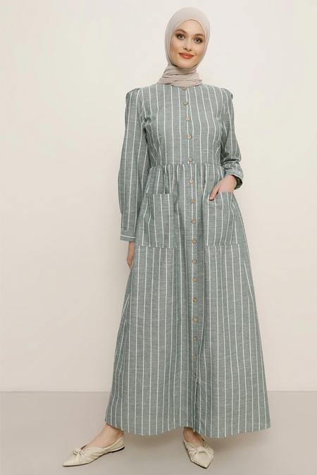 Refka Zümrüt Boydan Düğmeli Cepli Elbise