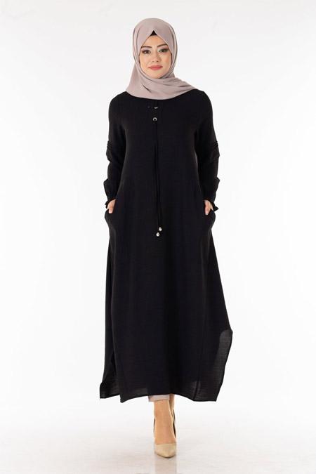 Siyah Bağcıklı Boydan Tesettür Tunik
