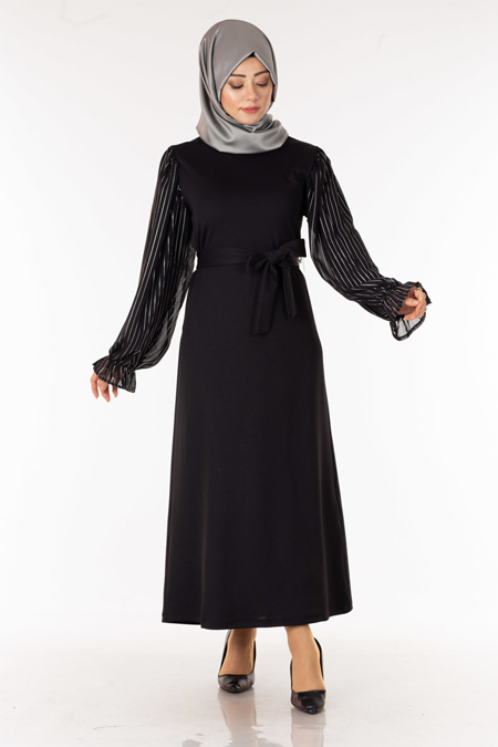 Siyah Kolu Çizgi Tüllü Tesettür Elbise