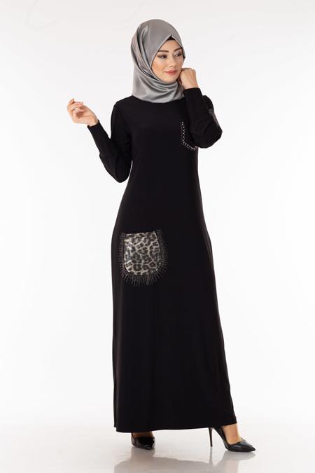 Siyah Leopar Cepli Taşlı Tesettür Elbise