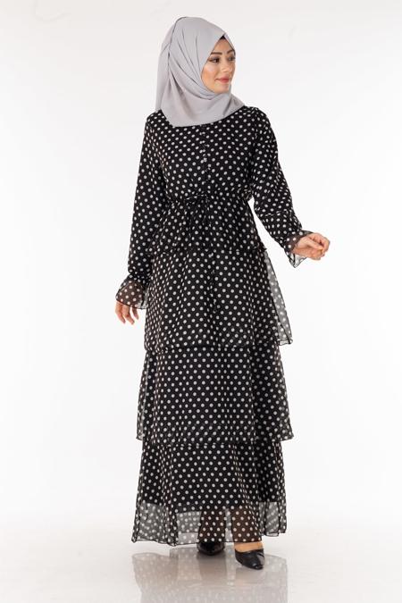 Siyah Puantiyeli Kat Kat Şifon Elbise