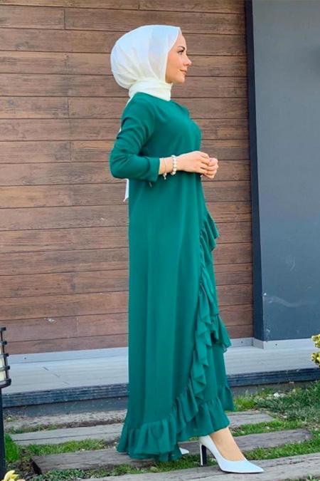 Storekokina Yeşil Şifon Krep Elbise