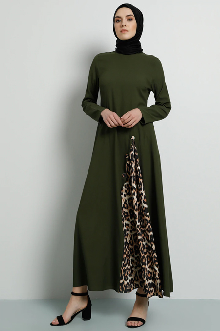 Tavin Haki Leopar Desen Detaylı Elbise