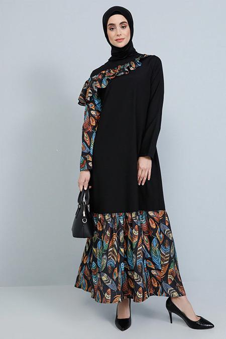 Tavin Siyah Volan Detaylı Elbise