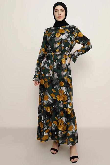 Tavin Zümrüt Yeşili Doğal Kumaşlı Çiçek Desenli Elbise