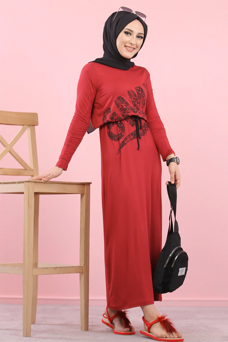 Tofisa Bordo Baskılı Elbise