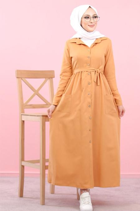 Tofisa Hardal Boydan Düğmeli Elbise