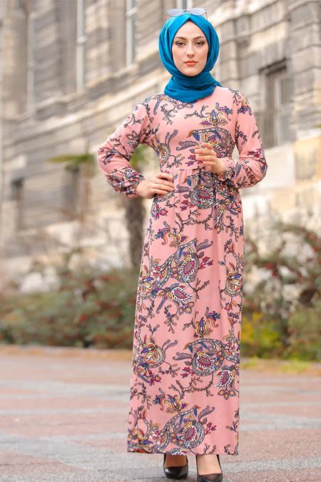 Tofisa Pudra Desenli Elbise