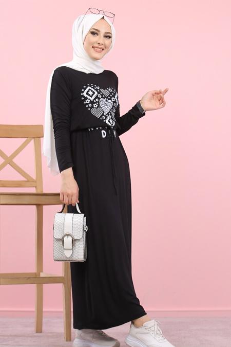 Tofisa Siyah Baskılı Elbise