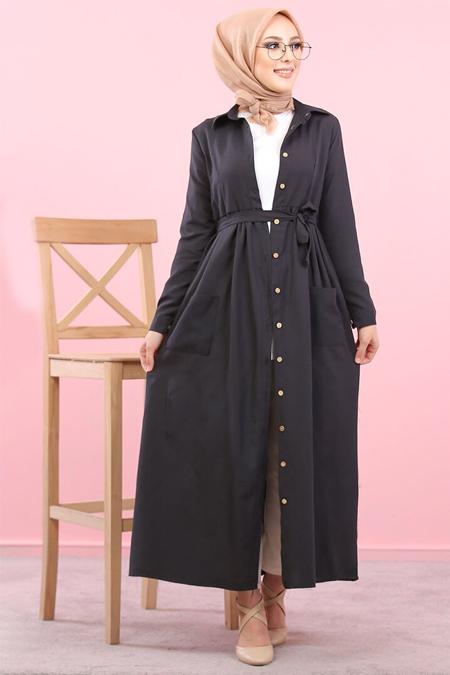Tofisa Siyah Boydan Düğmeli Elbise
