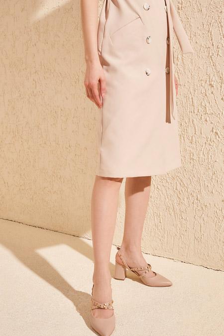 Trendyolmilla Bej Troklu Kadın Klasik Topuklu Ayakkabı