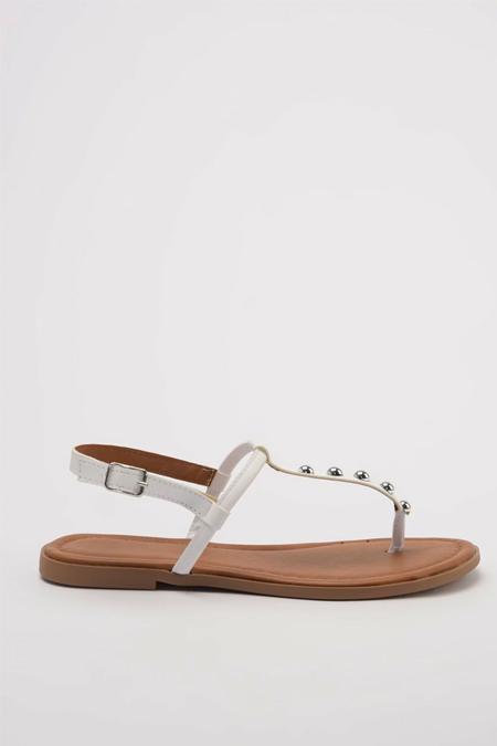 Trendyolmilla Beyaz Trok Detaylı Kadın Sandalet