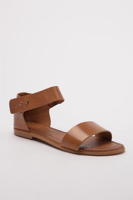 Trendyolmilla Hakiki Deri Taba Kadın Sandalet