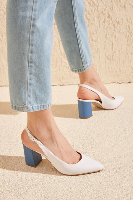 Trendyolmilla Lacivert Topuk Detaylı Kadın Klasik Topuklu Ayakkabı