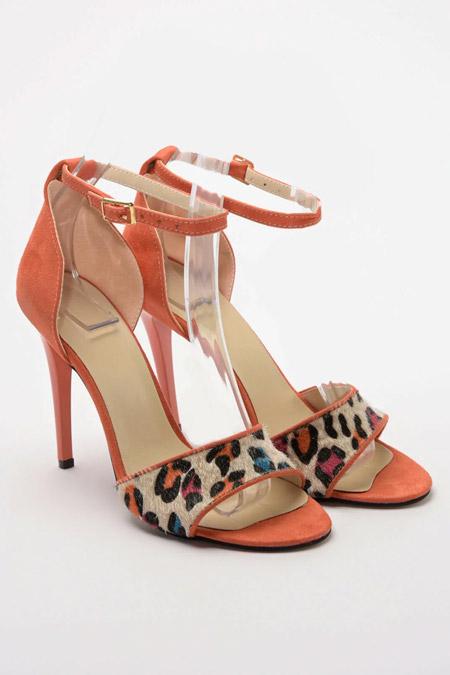 Trendyolmilla Turuncu Leopar Detaylı Ayakkabı