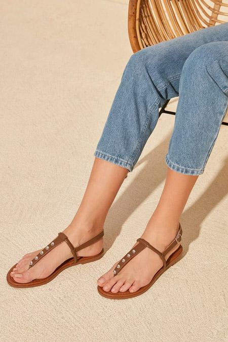 Trendyolmilla Vizon Trok Detaylı Kadın Sandalet