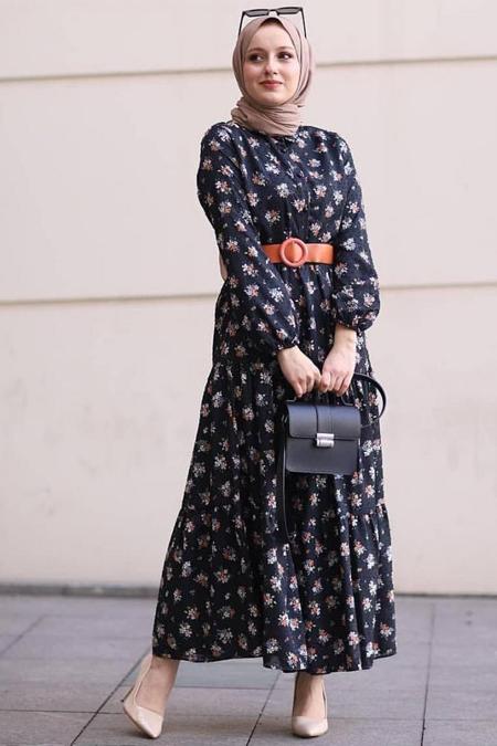 Zeynep Doğan Desing Şifon Desenli Elbise