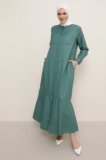 Alia Çam Yeşili Boydan Düğmeli Elbise