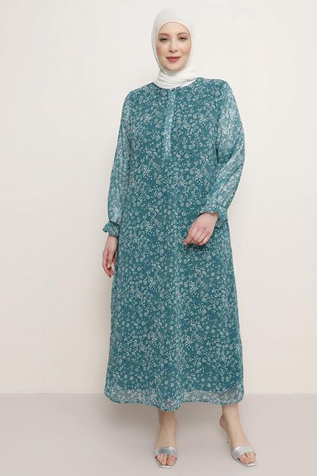 Alia Çam Yeşili Desenli Şifon Elbise