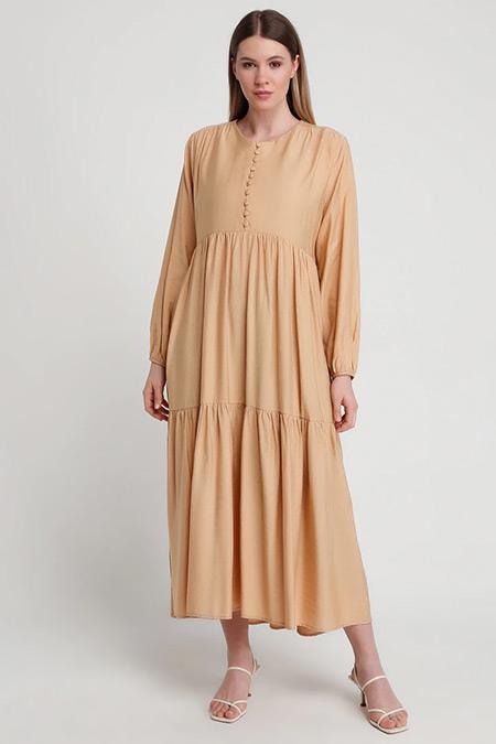 Alia Camel Brit Düğme Detaylı Elbise