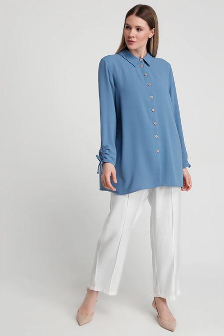 Alia Derin Mavi Kolları Büzgülü Gömlek Tunik