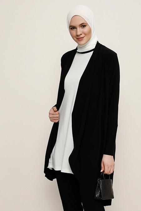 Alia Ekru Siyah Şerit Detaylı Tunik