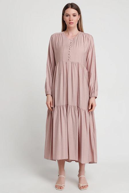 Alia Gül Kurusu Brit Düğme Detaylı Elbise