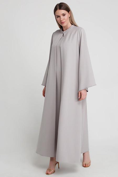 Alia Gri Yakası İnci Detaylı Ferace&Kolsuz Elbise İkili Abiye Takım