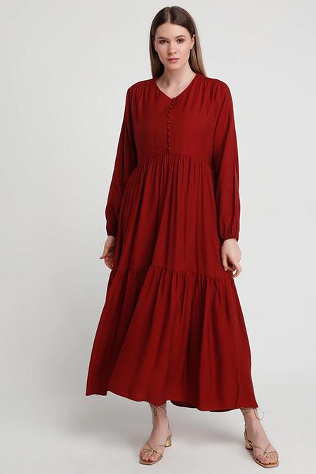 Alia Koyu Kiremit Brit Düğme Detaylı Elbise