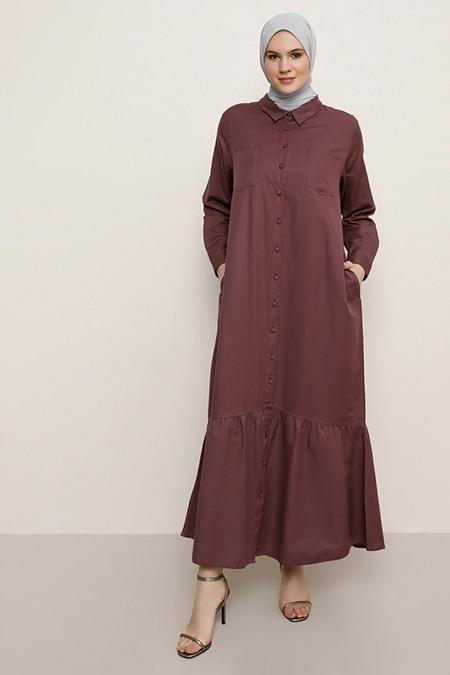 Alia Mistik Mor Boydan Düğmeli Elbise