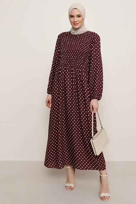 Alia Mistik Mor Doğal Kumaşlı Puantiye Desenli Elbise