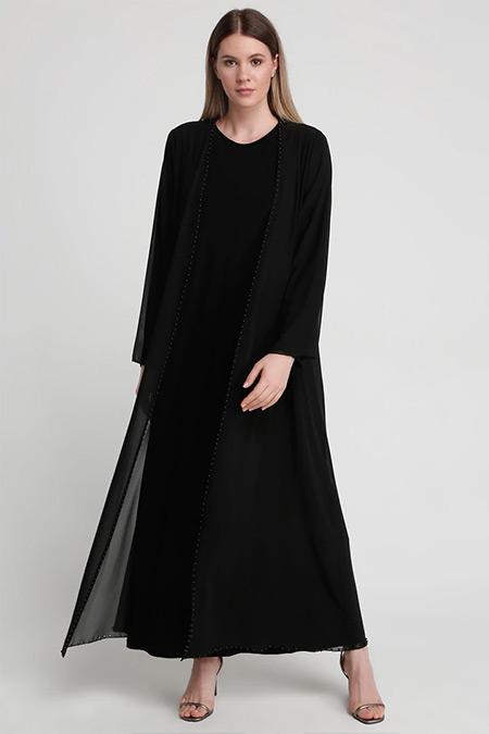 Alia Siyah İnci Detaylı Kap&Kolsuz Elbise İkili Abiye Takım