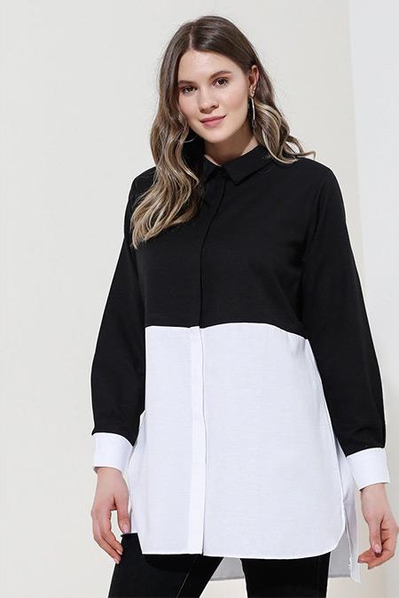 Alia Siyah Beyaz Gizli Düğmeli Garnili Tunik
