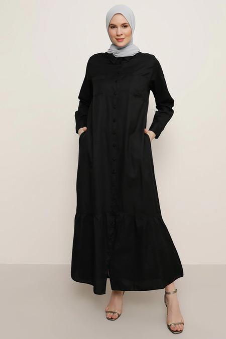 Alia Siyah Boydan Düğmeli Elbise
