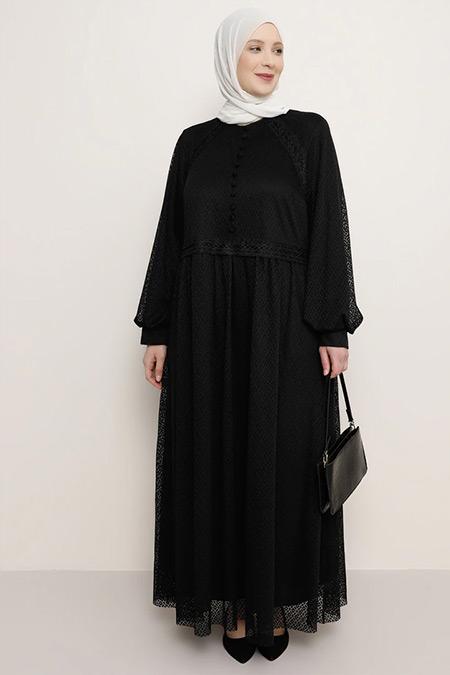 Alia Siyah Düğme Detaylı Abiye Elbise